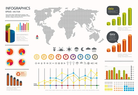 infographics set and Information weather world Graphics  set Vector