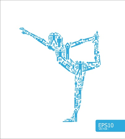 hombre levantando pesas: Iconos de deportes concepto yoga