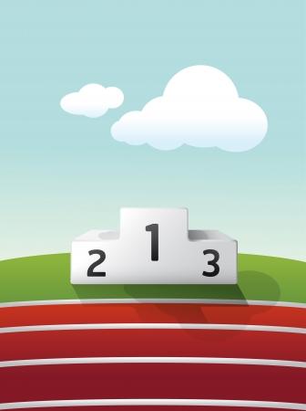 conquistando: podio deporte en hierba y pista de atletismo