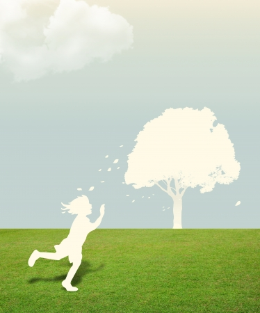 Paper cut of child on green grass with tree in the sky concept photo