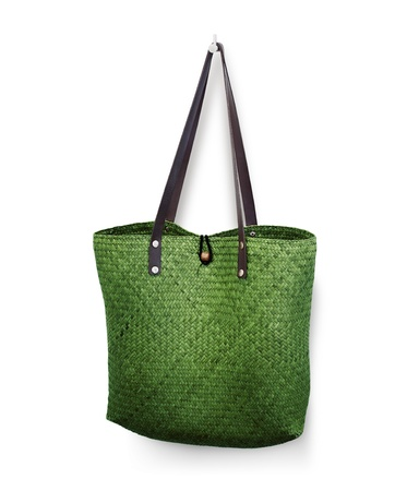 bag of weave reed Leather handle green color photo