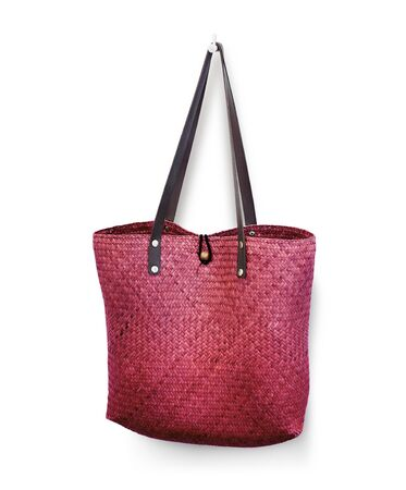 bag of weave reed Leather handle pink color  photo
