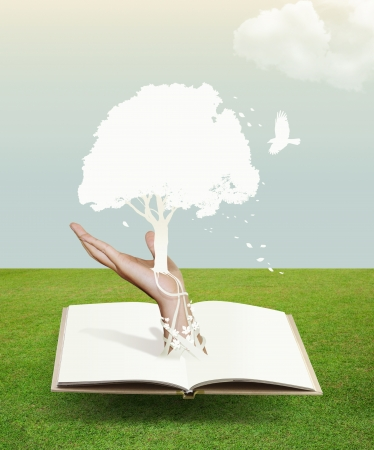 conceptual symbol: book with paper cut save world concept  Stock Photo