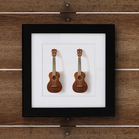 ukulele in frame on the wood wall photo