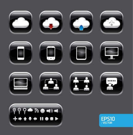 button with cloud computer icon set.black color glass style Vector