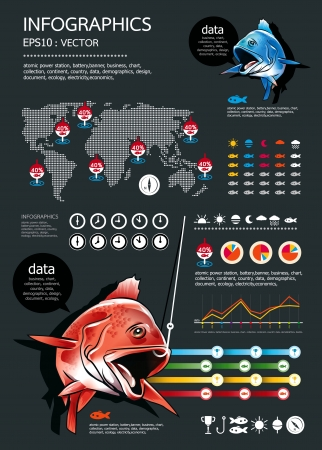 fishing Infographics set - fishing icons,Weather elements for presentation and Graph  Vector