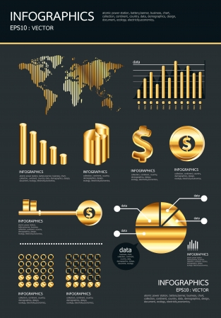 gold infographics set and Information Graphics  Vector
