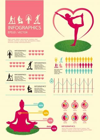 аэробный: инфографики спорта для здоровья со спортивными иконки Иллюстрация
