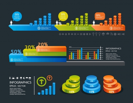 staaf diagram: infographics set en Informatie Graphics