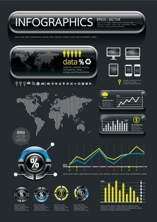 infographics glass set and Information Graphics  Vector