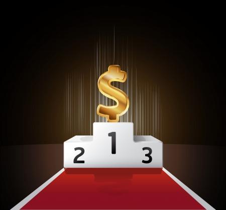 ranking: podium gold dollar concept.