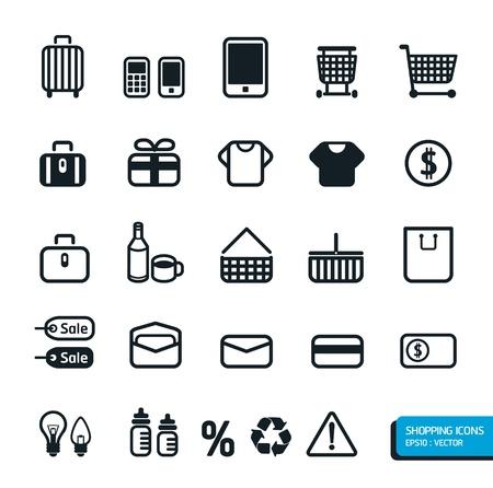 supermarket shopping cart: Iconos de Compras ajustado.