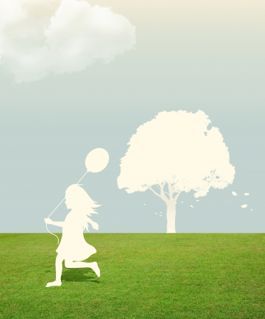 silhouette of girl with Balloon in hand under sky  paper cut style photo