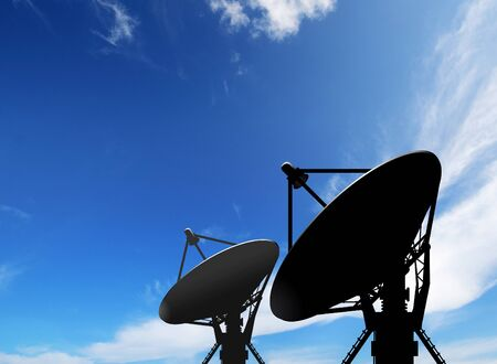 antennas: satellite dish antennas under blue sky with white cloud Stock Photo