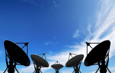 satellite dish antennas under blue sky with white cloud photo