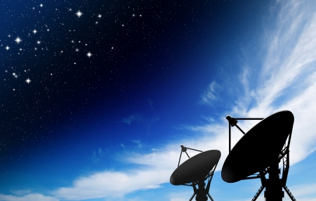 airwaves: satellite dish antennas under star with galaxy Space