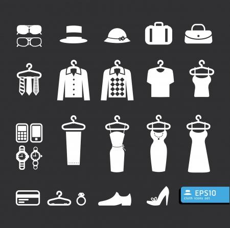 Elementen van Clothing Store pictogram vector Vector Illustratie