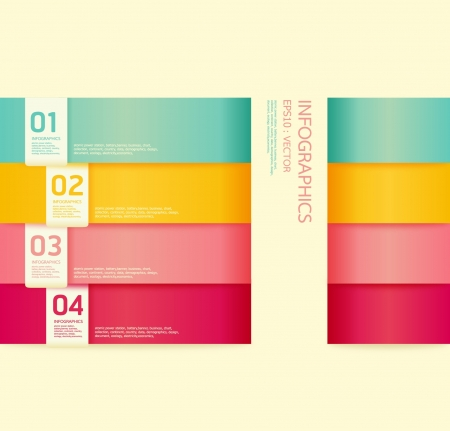 stationery items: Modern soft color Design template    can be used for infographics   numbered banners   horizontal cutout lines   graphic or website layout vector