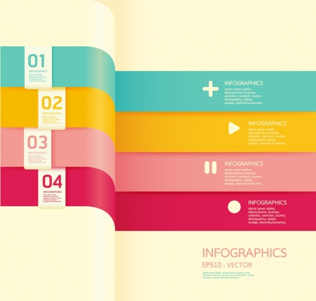 paper cut out: Modern soft color Design template    can be used for infographics   numbered banners   horizontal cutout lines   graphic or website layout vector
