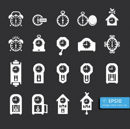old time: clocks  icon set vector