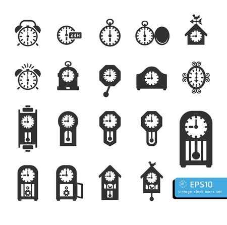 ticking: clocks  icon set vector