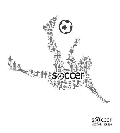 soccer player: Elements are small icons sports make in active soccer player shape with soccer text Vector illustration  concept