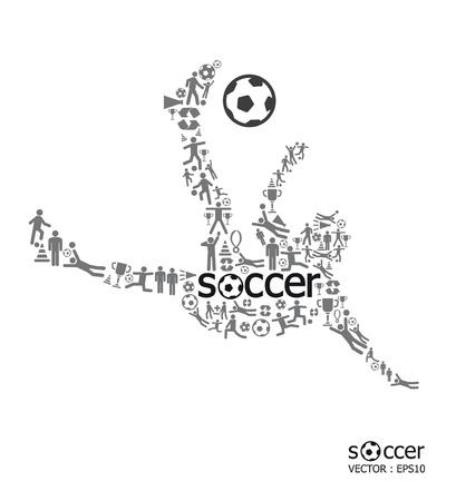 jugadores de soccer: Los elementos son peque�os iconos deportivos hacen en forma activa jugador de f�tbol con el concepto de f�tbol texto ilustraci�n vectorial