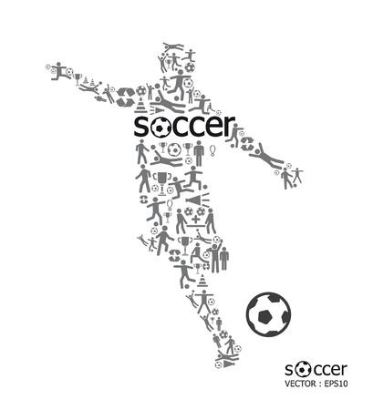 Elementen zijn kleine pictogrammen sport te maken in actieve voetballer vorm met voetbal tekst Vector illustration concept