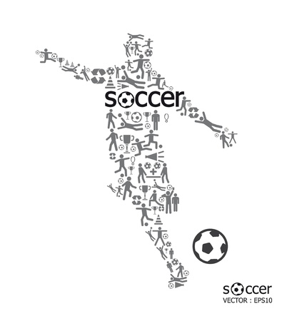 soccer background: Elements are small icons sports make in active soccer player shape with soccer text Vector illustration  concept