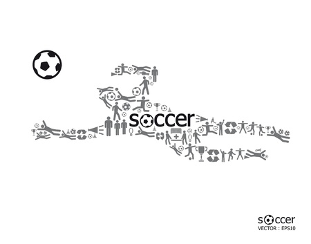 soccer coach: Elements are small icons sports make in active soccer player shape with soccer text Vector illustration  concept