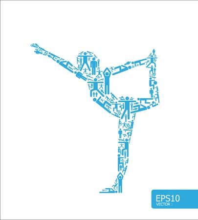 安らぎ: 要素はヨガ形状のベクトル図の概念を行うアクティブな女の子でスポーツをする小さいアイコンです。  イラスト・ベクター素材
