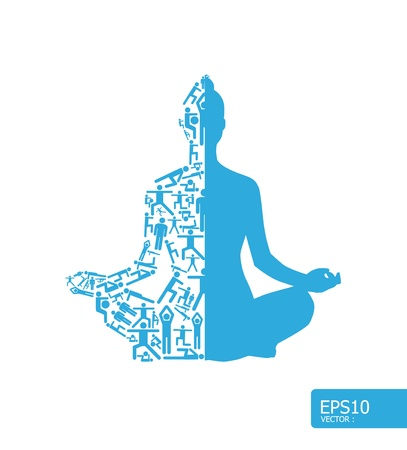Los elementos son pequeños iconos que hacen deportes en activo chica haciendo yoga forma vectorial concepto de ilustración