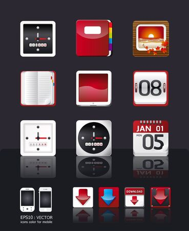 apps icon set vectortablet & mobile phone apps  Vector