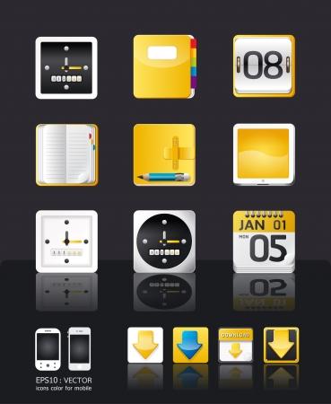 almanak: apps icon set vector  tablet en mobiele telefoon apps  gele kleur stijl Stock Illustratie