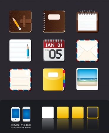 almanac: vector apps icon settablet & mobile phone app Illustration