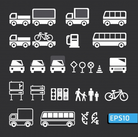 transportation icons set vector Vector