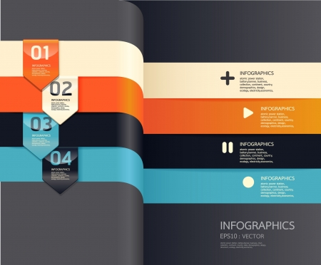 Modern   Design template    can be used for infographics   numbered banners   horizontal cutout lines   graphic or website layout vector Stock Vector - 15306761