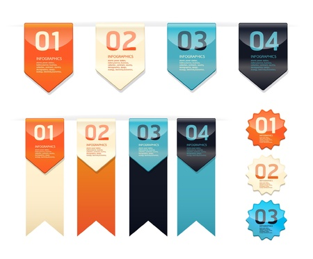 bookmarks: Modern   Design button    can be used for infographics   numbered banners   horizontal cutout lines   graphic or website layout vector