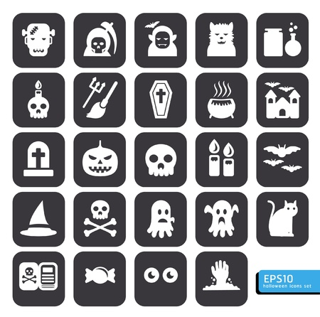 creepy hand: Halloween icons set vector Illustration