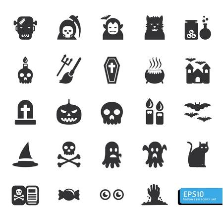 trick: Halloween icon set vector