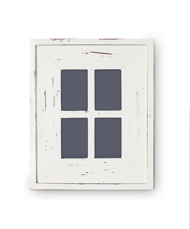 plated: Vintage picture frame, wood plated, white color Stock Photo