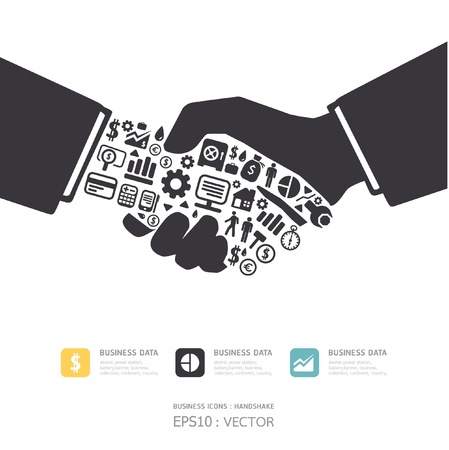 financial success: Elemente sind kleine Symbole Finanzen machen, aktive Unternehmer Handshake Form