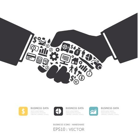 veiling: Elementen zijn kleine pictogrammen Financiën te maken in actieve zakenman handdruk vorm