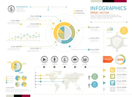 page layout: infographics set and Information Graphics Modern style