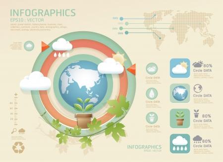 icono ecologico: infograf�a eco moderno plantilla de dise�o suave color se puede utilizar para la infograf�a contados banners vector dise�o gr�fico o sitio web Vectores