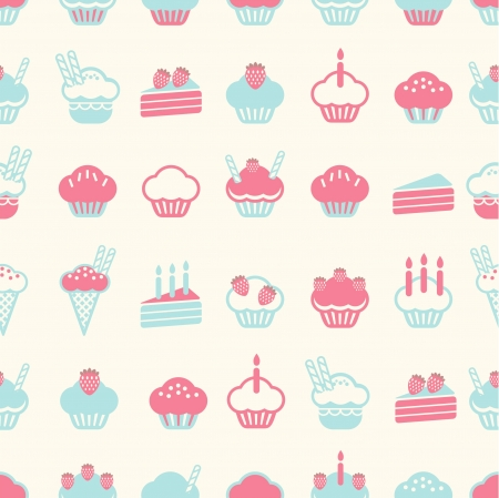 fairy cakes: seamless cake pattern soft vintage color style  Vector illustration