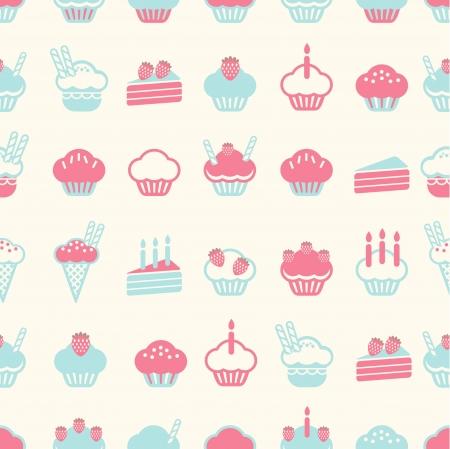 dessert muffin: seamless cake pattern soft vintage color style  Vector illustration