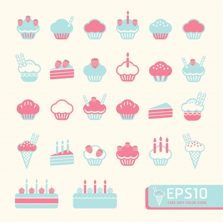 bake: cup cake soft color   Vector illustration Illustration