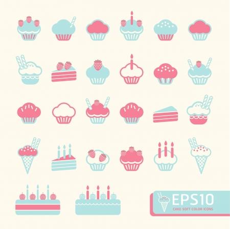 porcion de pastel: torta de la taza suave color ilustración vectorial
