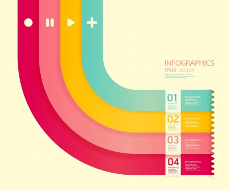 cut line: Modern soft color Design template    can be used for infographics   numbered banners   horizontal cutout lines   graphic or website layout vector